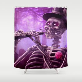 """Move your body!"" - The musician skeleton Shower Curtain"