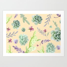 Cactus Watercolor Pattern 14 Art Print