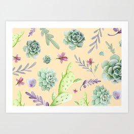 Cactus Watercolor Pattern 14 Art Print