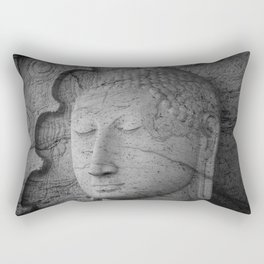 Seated Buddha statue in dhyana mudra pose at Gal Viharaya Rectangular Pillow