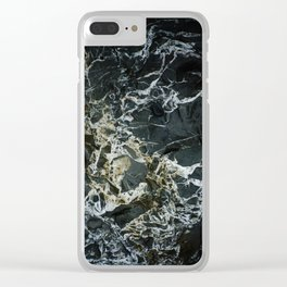 BLACK MARBLE ROCK WITH QUARTZ Clear iPhone Case
