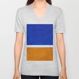 Phthalo Blue Yellow Ochre Mid Century Modern Abstract Minimalist Rothko Color Field Squares Unisex V-Neck