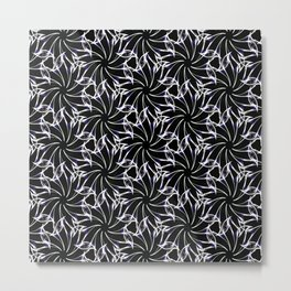 Black And Whte Floral Metal Print