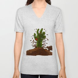 zombie hand coming out of the earth Unisex V-Neck