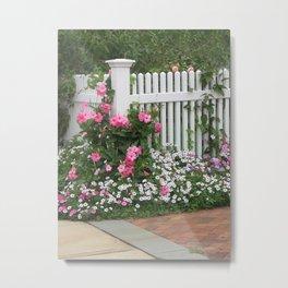 White Picket Fence & Roses Metal Print