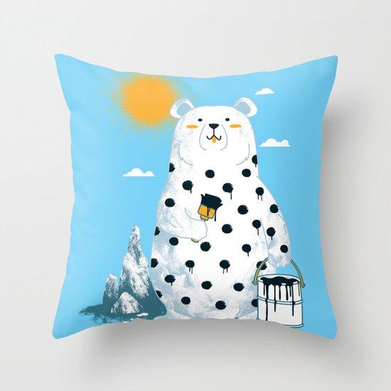 polka bear Throw Pillow