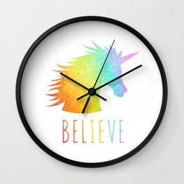 Believe  |  Rainbow Glitter Unicorn Wall Clock