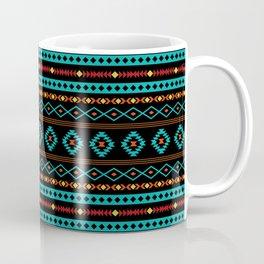Aztec Teal Reds Yellow Black Mixed Motifs Pattern Coffee Mug