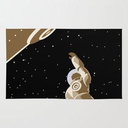 astronaut falling from lock dock Rug