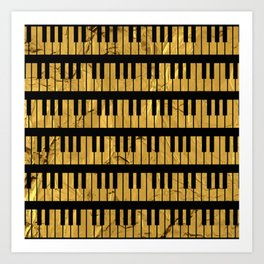 Golden Piano Keys Art Print
