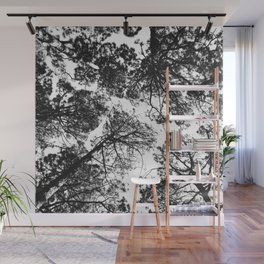 Forest landscape photography trees - black and white 1x1 Wall Mural