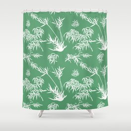 Bamboo Silhouettes in Everglade Green/Seashell White Shower Curtain