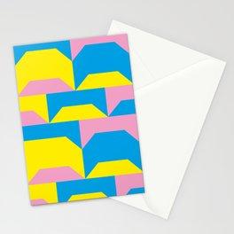 Trapezi e altre forme. Rosa, azzurro, giallo. Sembrano piccoli ponti per bambini, fatti in legno. Stationery Cards