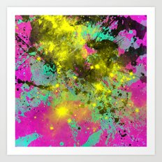 Stargazer - Abstract cyan, black, purple and yellow oil painting Art Print