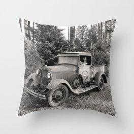 Buck Nasty's Moonshine Model A Ford Vintage Truck Skeleton Throw Pillow