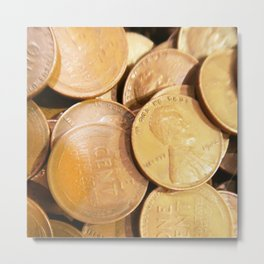 Watercolor Coins, Lincoln Wheat Pennies, 1942 02 Metal Print