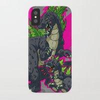 kaiju iPhone & iPod Cases featuring Kaiju Senior Kaiju Junior by firestarterdesign