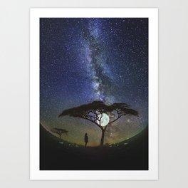 Starry Sky Tree At Moon Art Print
