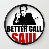 better call saul Wall Clocks featuring Better Call Saul  by Freak Clothing