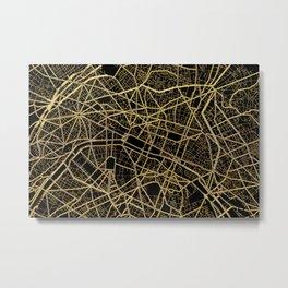 Black and gold Paris map Metal Print