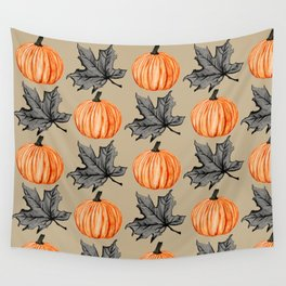 Pumpkin in the Fall Leaf Wall Tapestry