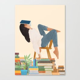 Lost in my books Canvas Print