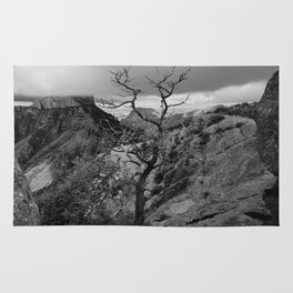 Withered Tree on top of Mountain Range, Big Bend - Landscape Photography Rug