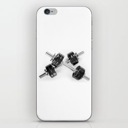 Crossed chrome hand barbells weights iPhone Skin