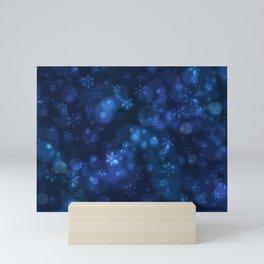 Blue Snowflakes Winter Christmas Pattern Mini Art Print