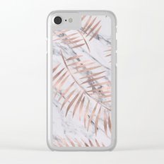 Rose gold palm fronds on marble Clear iPhone Case