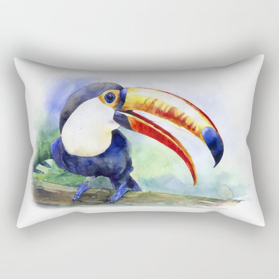Toucan watercolor illustration, aquarelle art bird Rectangular Pillow