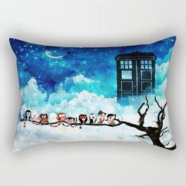 Owl Tardis Starry Night Rectangular Pillow