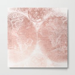 Antique World Map White Rose Gold Metal Print
