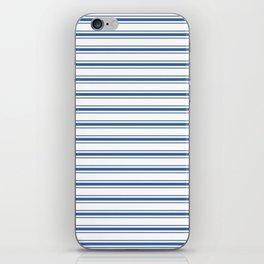 Mattress Ticking Wide Horizontal Stripe in Dark Blue and White iPhone Skin
