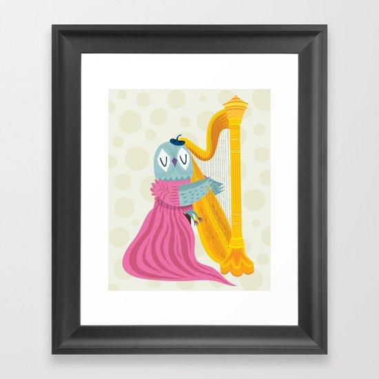 The Owl Harpist Framed Art Print