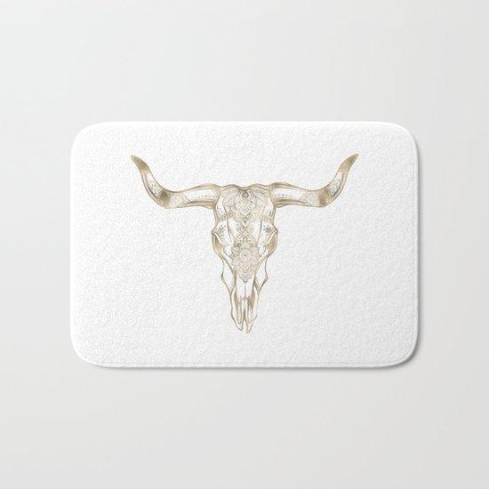 Bull Skull Gold Bath Mat