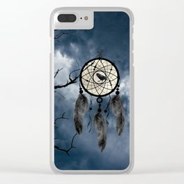 Black Bird Crow Tree Dream Catcher Night Moon A082 Clear iPhone Case