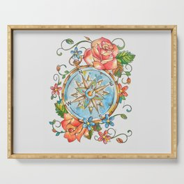Watercolor Nautical Compass Serving Tray