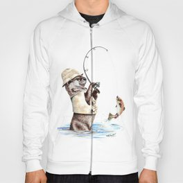 """"""" Natures Fisherman """" fishing river otter with trout Hoody"""