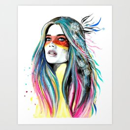 BOHO-GIRL-FEATHER Art Print