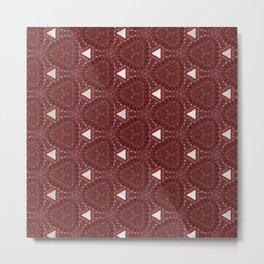 Decorative Multi Pattern Red White Design Metal Print