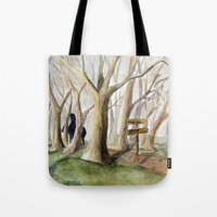 middle earth Tote Bags featuring Middle Earth by Jeff Moser Watercolorist