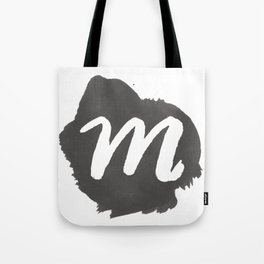 """M"" Monogram, Watercolor Design Tote Bag"