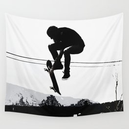 Flying High Skateboarder Wall Tapestry