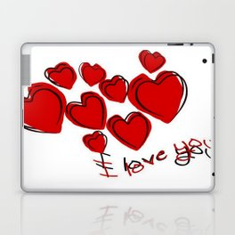 I Love You Greeting With Hearts Laptop & iPad Skin
