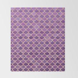 Mermaid Scales Pattern in Purple and Rose Gold Throw Blanket