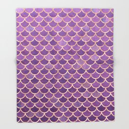 Mermaid Scales Pattern in Purple and Rose Gold Throw Blanket