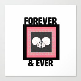 Valentine Forever & Ever Skull Stamp Print Wedding Valentine Art Canvas Print