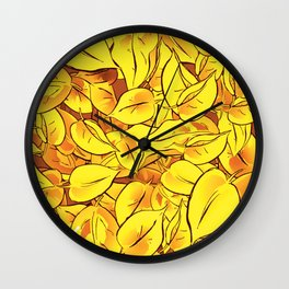 Yellow Leaves - Ver 1 (you can create set with Yellow Leaves Ver 2) Wall Clock