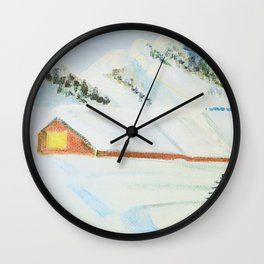 winter. house with tree Wall Clock